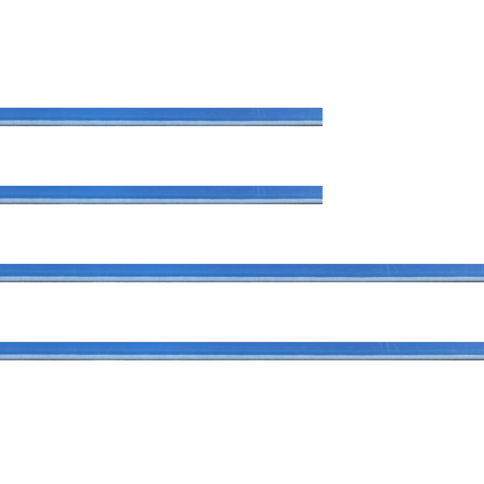 Baguette bois profil incurvé largeur 1.9cm de couleur bleu tonique filet intérieur blanchi