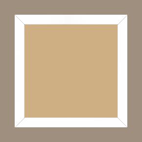 Cadre bois profil plat effet cube largeur 2cm couleur blanc satiné - 34x46