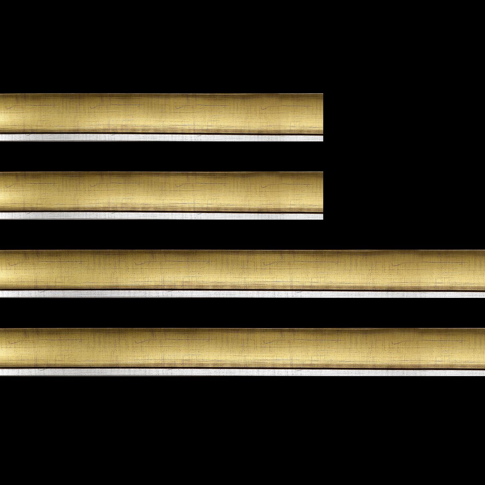Baguette bois profil concave largeur 5cm couleur or filet argent chaud