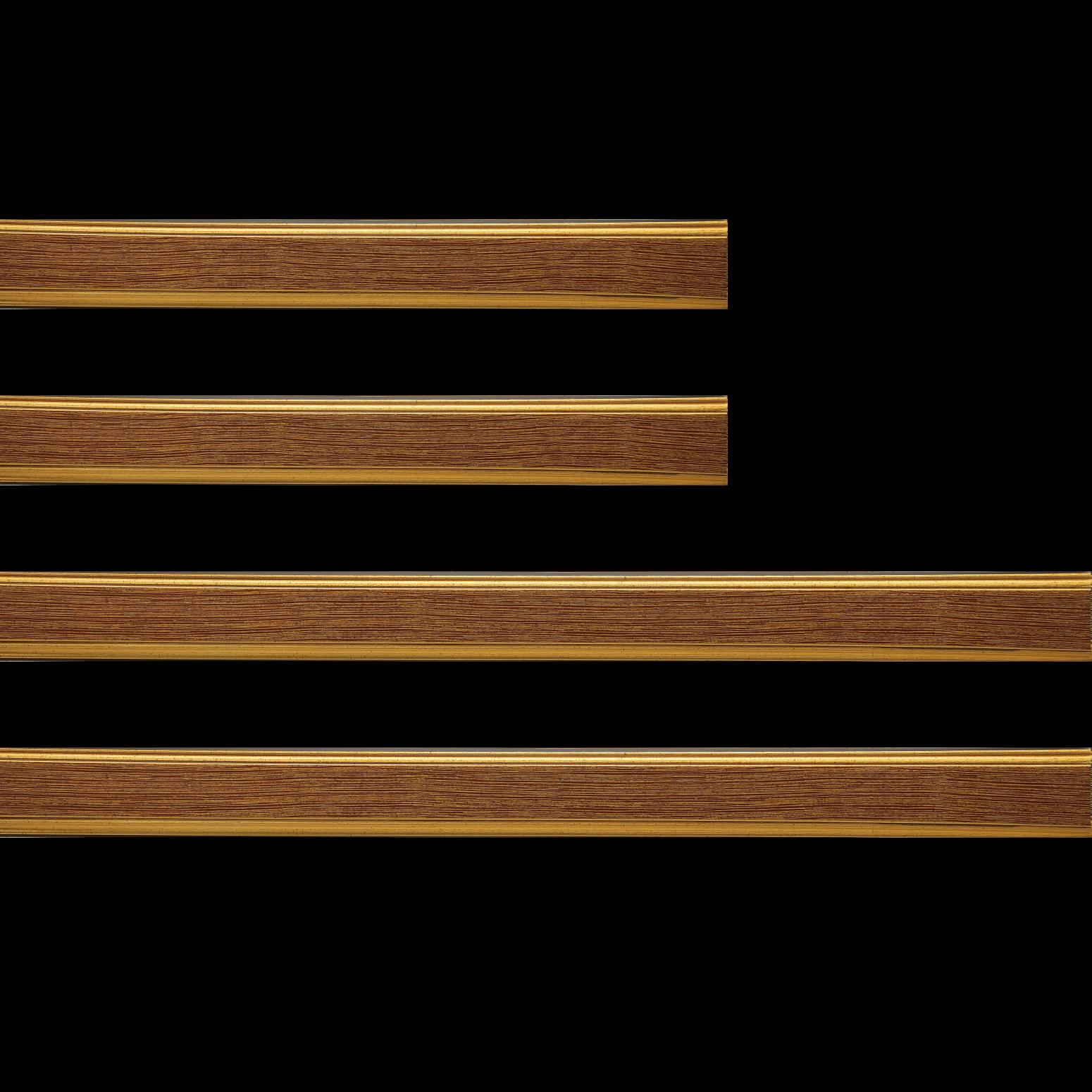 Baguette bois profil plat largeur 3.5cm couleur or fond bordeaux filet or
