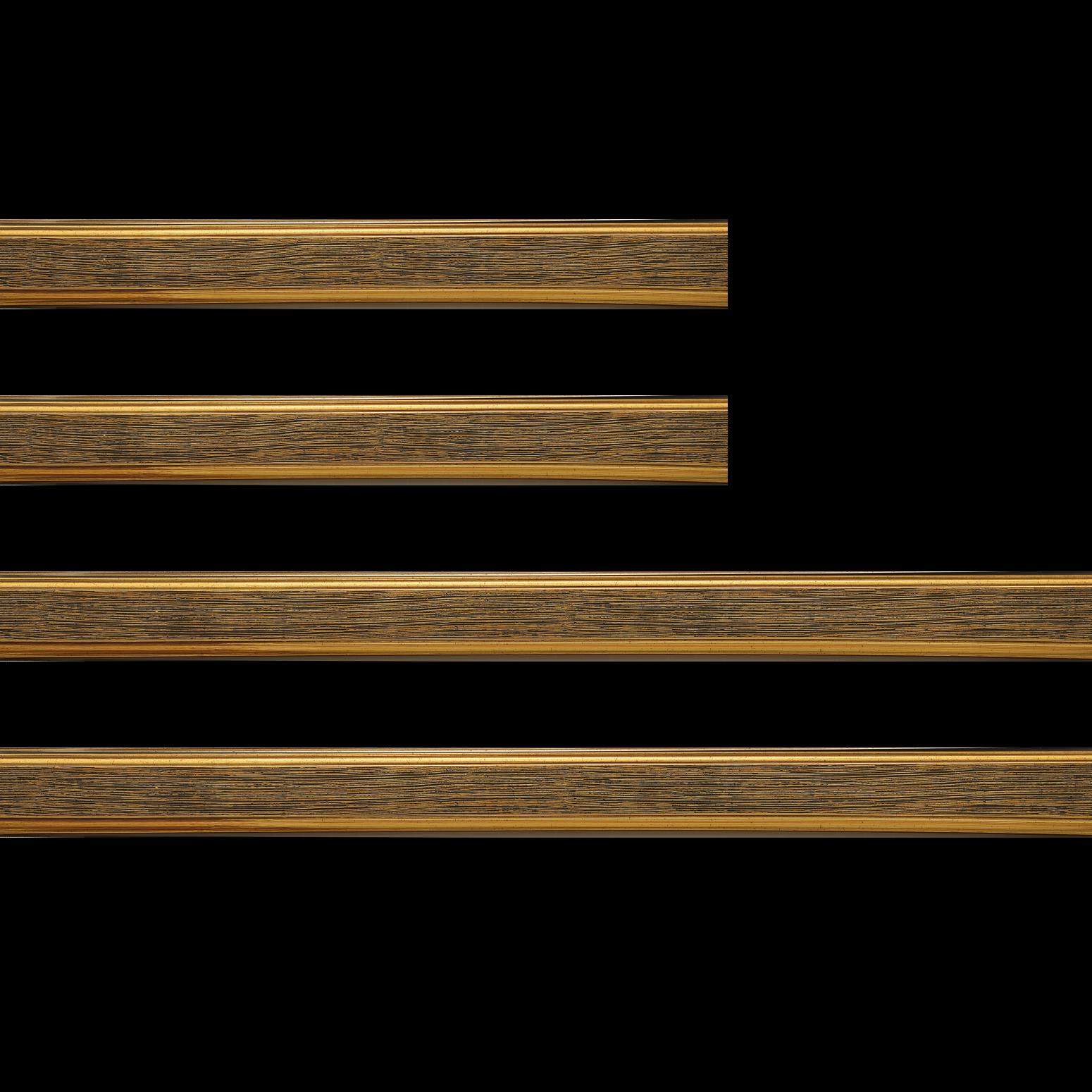 Baguette bois profil plat largeur 3.5cm couleur or fond noir filet or