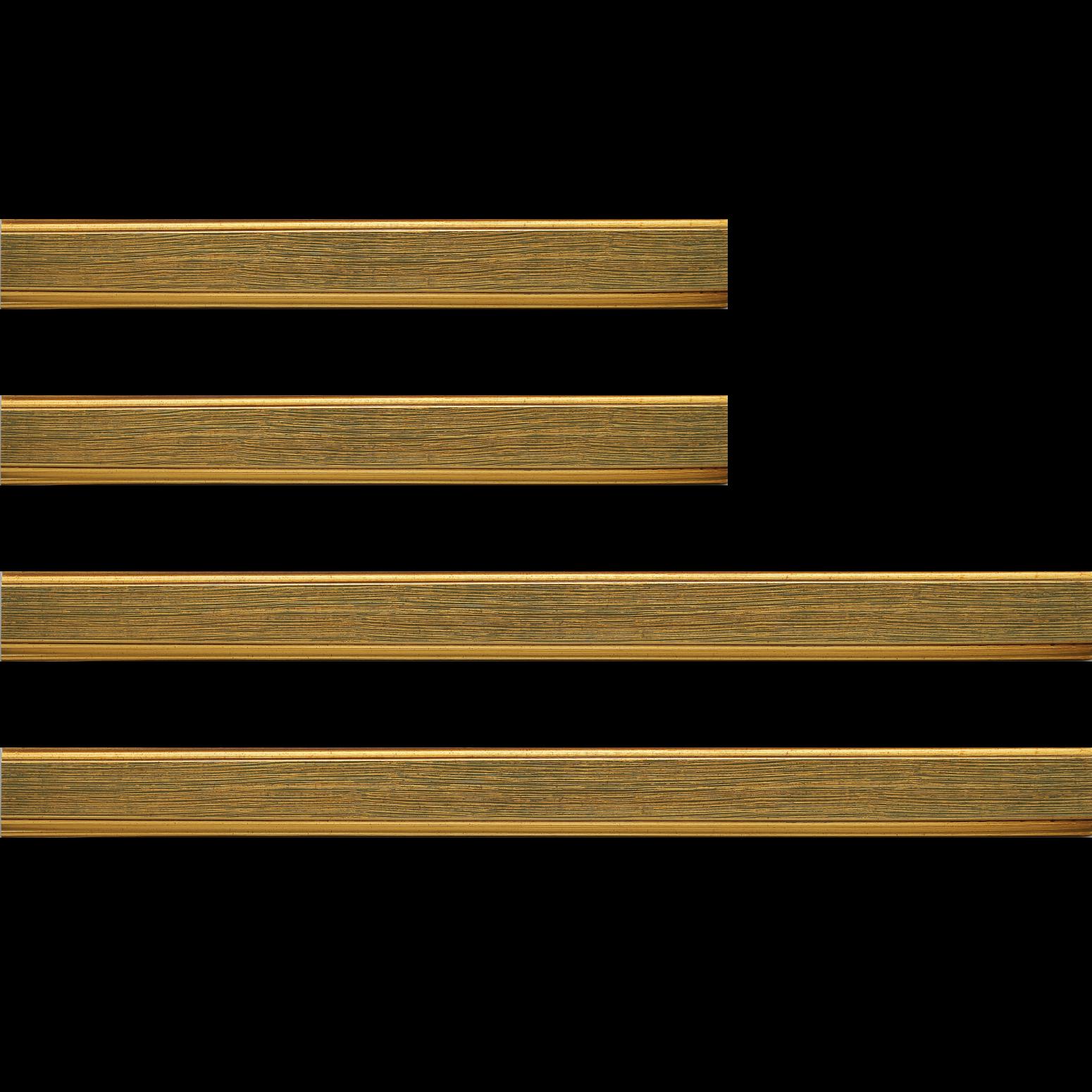 Baguette bois profil plat largeur 3.5cm couleur or fond vert filet or
