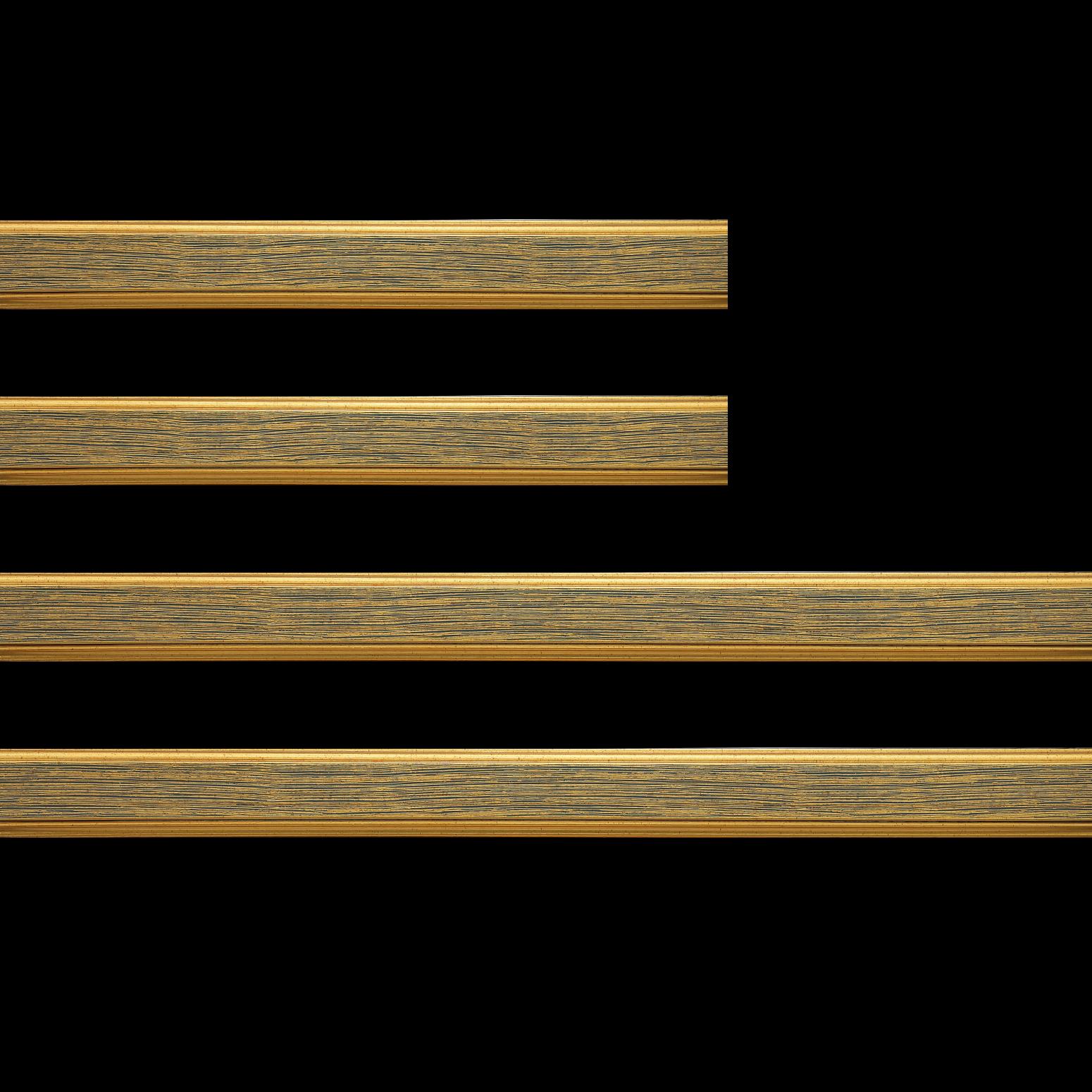 Baguette bois profil plat largeur 3.5cm couleur or fond bleu filet or