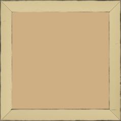 Cadre bois profil concave largeur 2.4cm couleur ivoire satiné arêtes essuyés noircies de chaque coté - 15x20