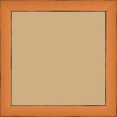 Cadre bois profil concave largeur 2.4cm couleur orange tonique  satiné  arêtes essuyés noircies de chaque coté - 60x80