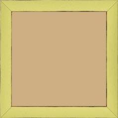 Cadre bois profil concave largeur 2.4cm couleur vert acidulé satiné arêtes essuyés noircies de chaque coté - 40x40