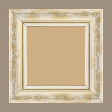 Cadre bois profil incurvé largeur 5.7cm de couleur blanc fond or marie louise blanche mouchetée filet or intégré - 84.1x118.9