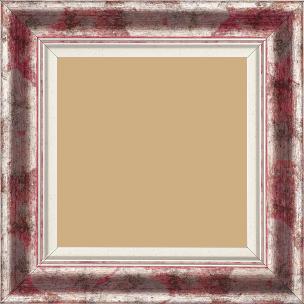 Cadre bois profil incurvé largeur 5.7cm de couleur rose fushia fond argent marie louise blanche mouchetée filet argent intégré - 70x70