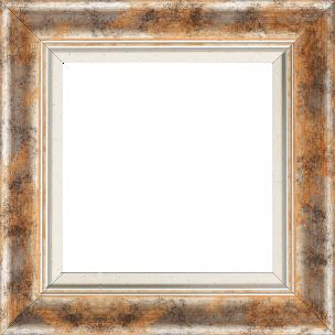 Cadre bois profil incurvé largeur 5.7cm de couleur orange fond argent marie louise blanche mouchetée filet argent intégré - 61x46