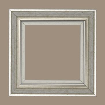 Cadre bois profil incurvé largeur 5.7cm de couleur argent marie louise blanche mouchetée filet argent intégré - 61x46