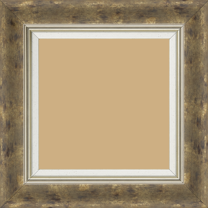 Cadre bois profil incurvé largeur 5.7cm de couleur terre patiné fond or marie louise blanche mouchetée filet argent intégré - 28x34