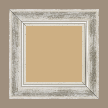 Cadre bois profil incurvé largeur 5.7cm de couleur blanc fond argent marie louise blanche mouchetée filet argent intégré - 84.1x118.9
