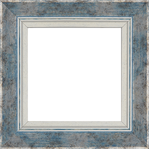 Cadre bois profil incurvé largeur 5.7cm de couleur bleu fond argent marie louise blanche mouchetée filet argent intégré - 61x46
