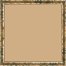 Cadre bois profil plat largeur 1.5cm couleur vert fond or ,bord or déstructuré ( extérieur du cadre ton bois marron) - 40x40