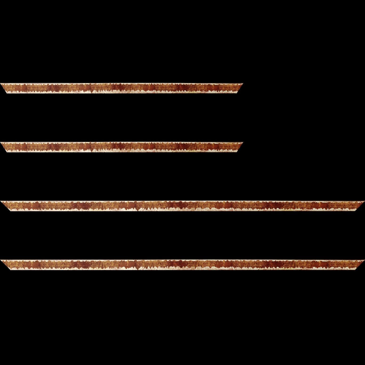 Baguette bois profil plat largeur 1.5cm couleur bordeaux fond or ,bord or déstructuré ( extérieur du cadre ton bois marron)