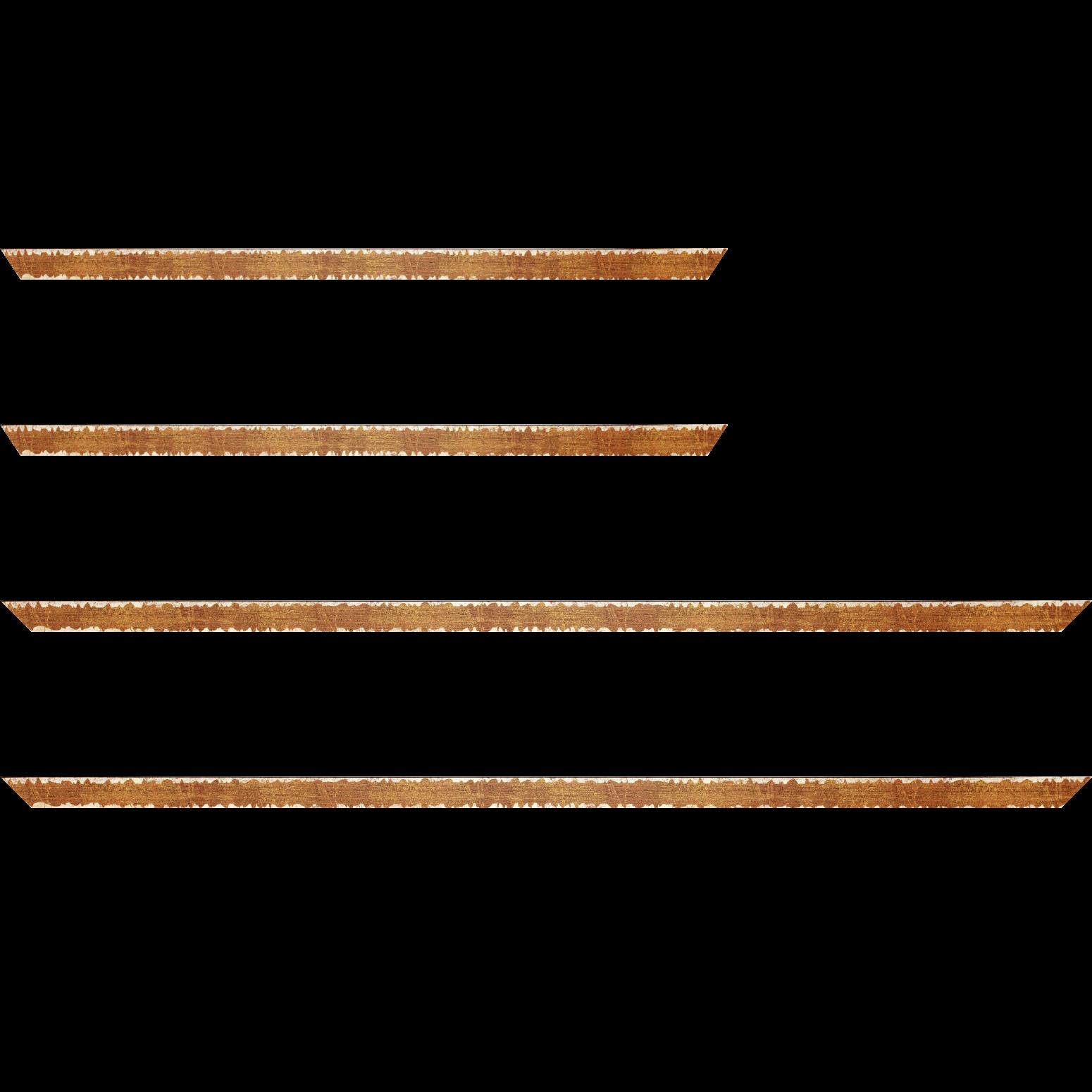 Baguette bois profil plat largeur 1.5cm couleur ocre fond or ,bord or déstructuré ( extérieur du cadre ton bois marron)