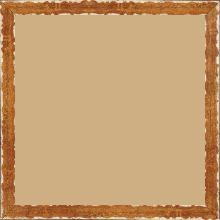 Cadre bois profil plat largeur 1.5cm couleur ocre fond or ,bord or déstructuré ( extérieur du cadre ton bois marron) - 40x40