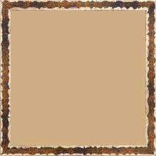 Cadre bois profil plat largeur 1.5cm couleur bleu fond or ,bord or déstructuré ( extérieur du cadre ton bois marron) - 40x40