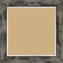 Cadre bois profil plat largeur 3.3cm couleur noir fond argent filet argent - 52x150