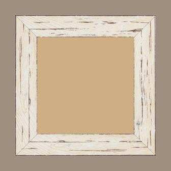 Cadre bois profil plat largeur 4.3cm couleur blanchie finition aspect vieilli antique - 15x20
