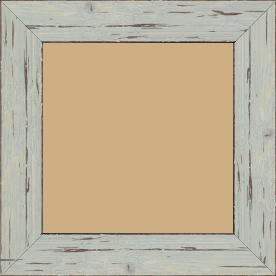 Cadre bois profil plat largeur 4.3cm couleur bleu délavé finition aspect vieilli antique - 70x90