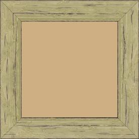 Cadre bois profil plat largeur 4.3cm couleur vert délavé finition aspect vieilli antique - 40x40
