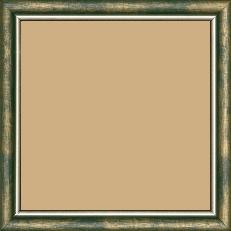 Cadre bois profil arrondi largeur 2.1cm couleur vert fond or filet argent chaud - 15x21