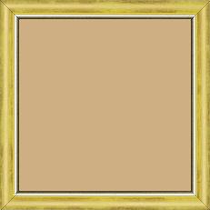 Cadre bois profil arrondi largeur 2.1cm  couleur  jaune fond or filet argent chaud - 15x20