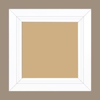 Cadre bois profil pente largeur 4.5cm de couleur blanc mat filet blanc - 59.4x84.1