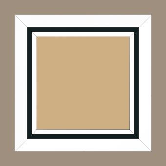 Cadre bois profil pente largeur 4.5cm de couleur blanc mat filet noir - 42x59.4