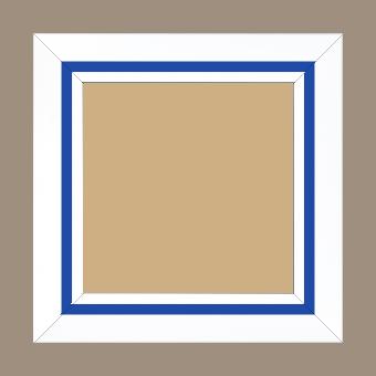 Cadre bois profil pente largeur 4.5cm de couleur blanc mat filet bleu foncé - 80x100