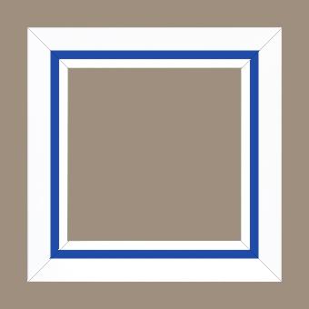 Cadre bois profil pente largeur 4.5cm de couleur blanc mat filet bleu foncé - 61x46