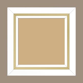 Cadre bois profil pente largeur 4.5cm de couleur blanc mat filet or - 80x100