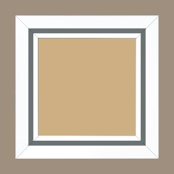 Cadre bois profil pente largeur 4.5cm de couleur blanc mat filet gris - 59.4x84.1