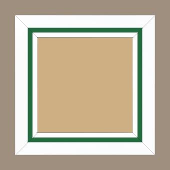 Cadre bois profil pente largeur 4.5cm de couleur blanc mat filet vert - 59.4x84.1