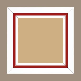 Cadre bois profil pente largeur 4.5cm de couleur blanc mat filet rouge - 50x75