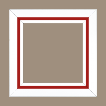 Cadre bois profil pente largeur 4.5cm de couleur blanc mat filet rouge - 61x46