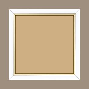 Cadre bois profil arrondi largeur 2.1cm couleur blanc mat filet or - 34x40