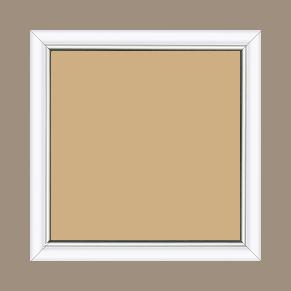 Cadre bois profil arrondi largeur 2.1cm couleur blanc mat filet argent - 34x46