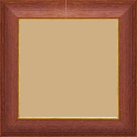 Cadre bois profil incurvé largeur 3.9cm couleur acajou satiné filet or - 84.1x118.9