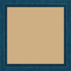 Cadre bois profil bombé largeur 2.4cm couleur bleu satiné filet noir - 42x59.4