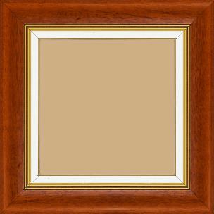 Cadre bois profil incurvé largeur 5.7cm de couleur marron ton bois marie louise blanche mouchetée filet or intégré - 52x150