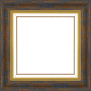 Cadre bois profil incurvé largeur 5.7cm de couleur bleu fond or marie louise blanche mouchetée filet or intégré - 61x46