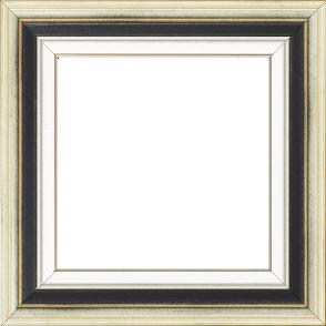 Cadre bois largeur 5.2cm argent gorge noire marie louise blanche filet argent intégrée - 46x33