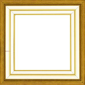 Cadre bois largeur 5.2cm or gorge crème  marie louise crème filet or intégrée - 116x81