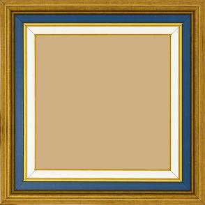Cadre bois largeur 5.2cm or gorge bleue nuit  marie louise crème filet or intégrée - 70x90