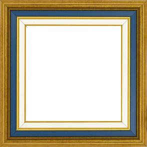 Cadre bois largeur 5.2cm or gorge bleue nuit  marie louise crème filet or intégrée - 116x81