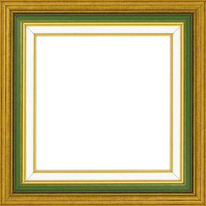 Cadre bois largeur 5.2cm or gorge verte marie louise crème filet or intégrée - 61x46