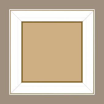 Cadre bois profil doucine inversée largeur 4.4cm couleur blanc satiné filet or - 50x75