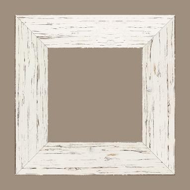 Cadre bois profil plat largeur 6.7cm couleur blanchie finition aspect vieilli antique - 61x46